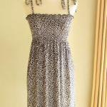 Smocked Tube Dress with Straps - Leopard Print