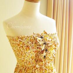 Smocked Dress with Ruffles and Beads Orange Yellow Japanese Cotton Floral Print