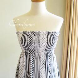 Summer Dress - Strapless Smocked Cotton Tube Dress Polkadot Stripes Pattern with Ruffles